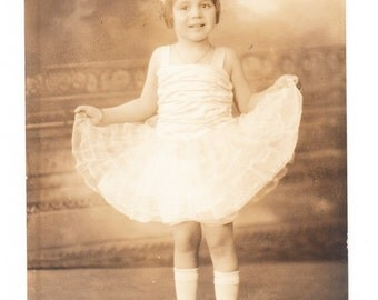 vintage Photo Postcard Little Girl Dance Costume Dress 1910s RPPC