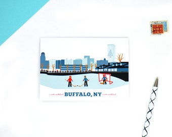 buffalo, ny marina buffalo ny hockey buffalo skyline cards, buffalo christmas cards, buffalo ny art, buffalo cards, buffalo ny cards