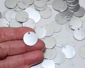 """11/16"""" Stamping Blanks 18 Gauge 10 Or More Brushed Aluminum Discs Tags 2mm Hole Nearly 3/4"""" Blanks for Stamping Stamps Metal Discs Stamping"""