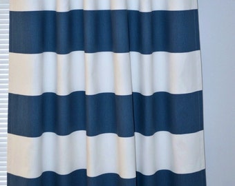 Curtain Stripe Navy Blue White Pair of Rod Pocket Panels,  Wide Navy White Stripe Cabana, You choose size