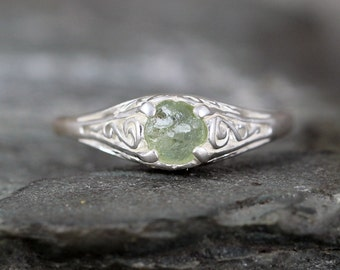 Light Blue Green Montana Sapphire Ring - Sterling Silver Filigree  - Engagement Ring - September Birthstone - Raw Uncut Rough Gemstone Rings