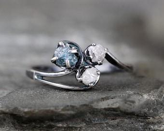 Raw Blue Diamond Trio Ring - Uncut Rough Diamond - Diamond Engagement Rings - Conflict Free - Raw Gemstone-April Birthstone-Anniversary Ring
