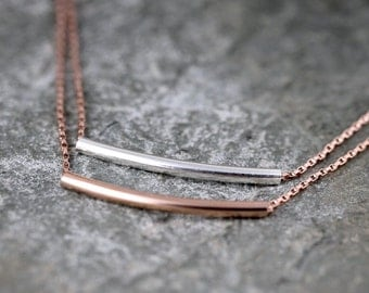 Curved Bar Necklace - Layering Necklace - Rose Gold Filled and Sterling Silver - Bar Pendant - Tube Necklace