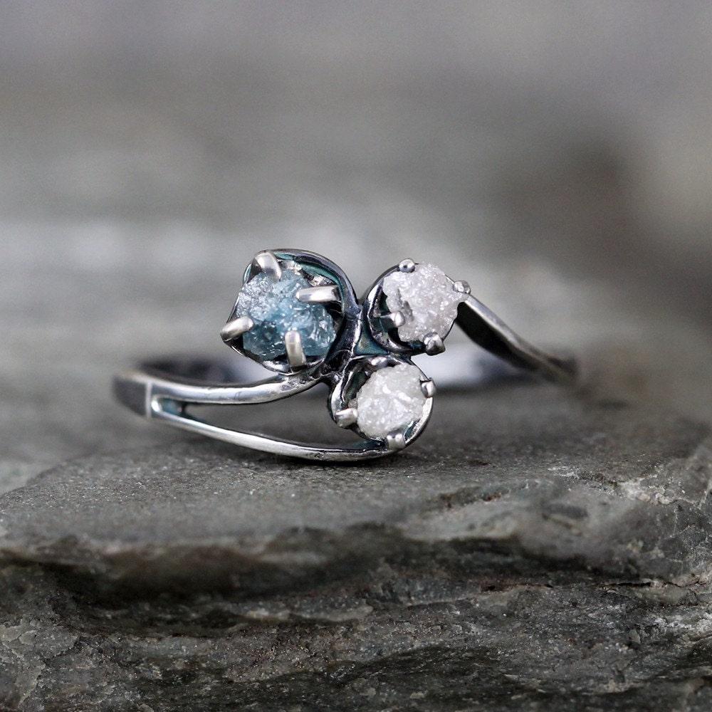 raw blue diamond trio ring uncut rough diamond diamond