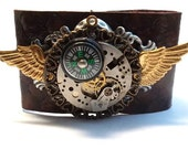 Winged Steampunk Working Compass Scale Leather Cuff OOAK