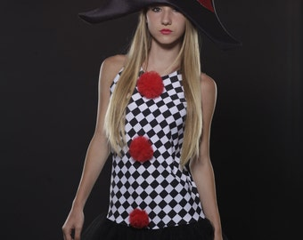 A lovely dress with lots of sass HARLEQUINA-harlequin clown costume -harlequin costume -Commedia dell'arte -READY To SHIP -10% discount