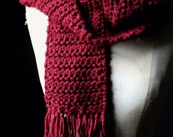 The Wine Cellar Storyteller Scarf. Rustic Bohemian Unisex Merlot Wine Red Crochet Wrap Fringe Scarf.