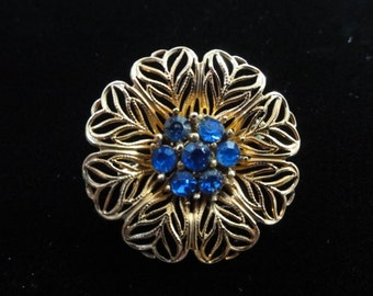Vintage Rhinestone Brooch- Blue Rhinestones Flower Brooch, Gold Metal Circle Brooch- Vintage Floral Pin, Something Blue Bridal Jewelry
