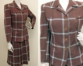 Vintage WWII 1940s Brown and Blue Windowpane Plaid Wool Suit SZ M