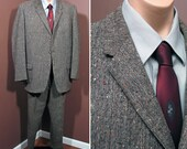 1950s Brown and Grey Flecked Weave 2 Piece Vintage Suit SZ 42R