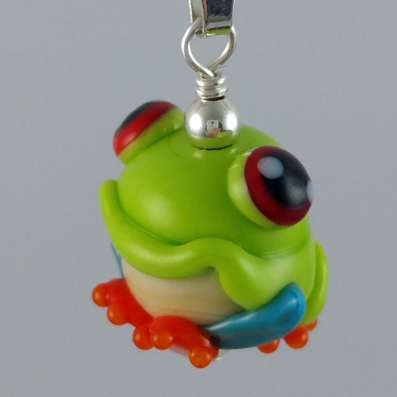 Cute Franklin Tree Frog Lampwork Glass Necklace and Cell Charm