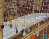 """14K Solid Gold Semi Precious Stone Necklace, 16"""""""