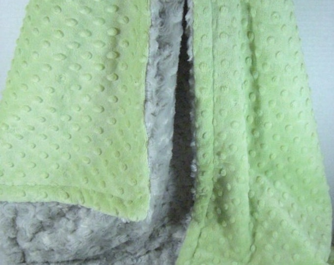 Mint and Silver Gray Rose Swirl Minky Baby Blanket Sage Minky Dot with Gray Swirl Baby Blanket,  Can Be Personalized