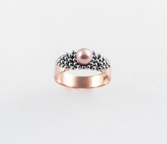 Pink Pearl Glamour Ring - in 14K rose and white gold