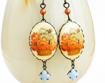 Flower Cameo Earrings Vintage Glass Floral Cameos Peach Lilac Earrings Victorian Flower Jewelry Sweet Pastel Jewelry
