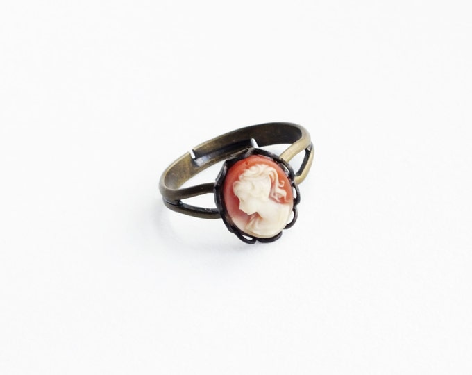 Small Cameo Ring Vintage Carnelian Resin Cameo Jewelry Adjustable Antique Brass Stacking Ring Victorian Cameo Ring