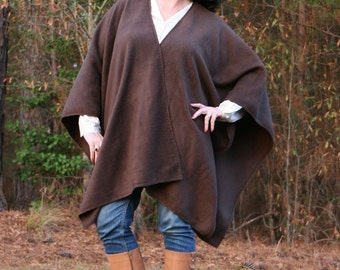 Dark Chocolate Brown Antipill Fleece Wrap with Embellished Edges