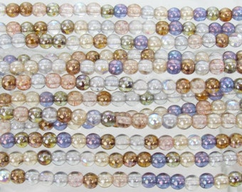 4mm Transparent Lumi Luster Color Mix Czech Glass Round Beads - Qty 100 (BS567)