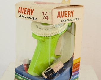 Vintage AVERY Lime GREEN Label Maker USA made 1960's 70's with box and extras