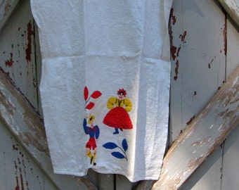 Swiss Miss - vintage hand embroidered linen towel