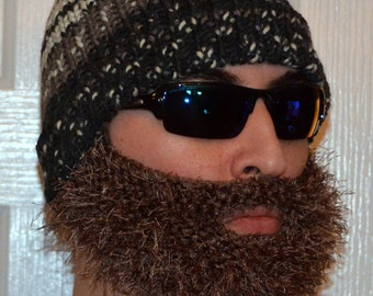 Beard Beanie, Knitted Beard Hat, Adult Size, All Colors, Bearded Beanie, Bearded Hat, Bearded Cap