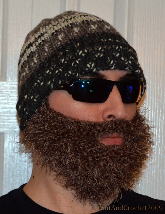 Men Scarf Knitting Patterns : Beard Beanie Knitted Beard Hat Adult Size All Colors