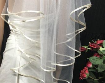 Satin Wedding Veil, Drop Veil, SATIN Edge Veil, Soft Wedding Veil, Satin Ribbon Veil, 2 Layer Veil, Elegant Veil, Simple Veil, CASCADE Veil