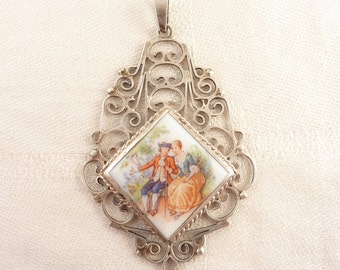 SALE ---- Vintage Transfer Printed Old Fashioned Love Scene Porcelain Plaque Mexican Sterling Scrollwork Pendant