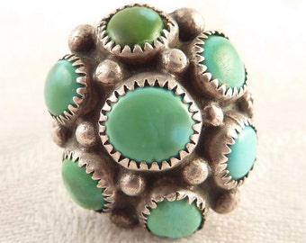 Antique Adjustable Size 5 Native American Sterling Multi Turquoise Stone Ring