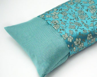 "Flax Seed Eye Pillow - Lavender or Unscented in a Delicate Floral on Turquoise Green Brocade - Yoga Eye Mask - Cold Pack - 10 1/2"" x 3 1/2"""