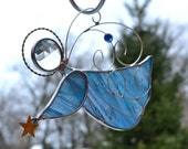 Guardian Angel Blue  Stained Glass Angel Suncatcher