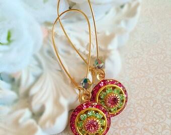 Art Deco Earrings - Victorian Jewelry - Pink Earrings - Rose Quartz Spring Earrings - Bridesmaid Gifts - Victorian Earrings - AURORA Pink
