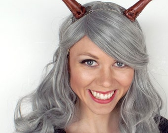 Woodland Dragon Horns in Silver and Brown