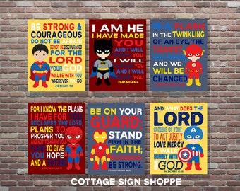 Superhero Nursery Art,Set, Christian Batman Decor, DIGITAL, YOU PRINT, Boys Superhero Decor, Superman Scripture Art, Superhero Decor