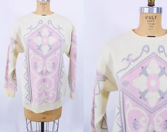 1980s pink sweater | cream light pink filigree rhinestone oversize pullover | vintage 80s sweater | W 36""