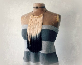 Ombre Fringe Tribal Necklace Dip Dyed Black Cream Bohemian Jewelry Fringed Bib Choker Gold Chain Elegant Jewelry Women's Boho Necklace