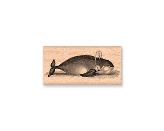 Vintage Whale RUBBER STAMP~Whale with Spout~Stamp~Ocean Sea Nautical Theme~Wood Mounted~Mountainside Crafts (48-27)