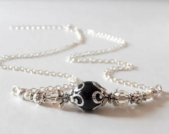 Wedding Jewelry Bridesmaid Necklaces Black Necklaces Beaded Necklaces Black Swarovski Pearl Necklace with Champagne Crystals on Silver Chain
