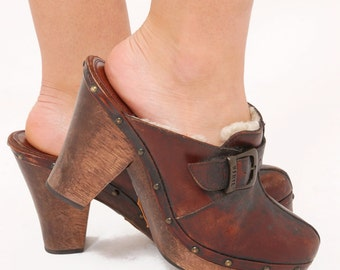 Vintage FRYE Clogs Brown Leather FRYE Shoes with Shearling Lining Boho Shoes PLATFORM Clogs Size 10
