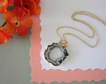 Geode Necklace, Druzy Necklace Gold, BoHo Necklace, Crystal Necklace, Geode Slice, Gold Slice Druzy,GCH30