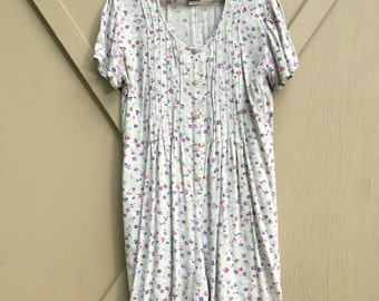 90s vintage Grunge Pale Mint Green Ditsy Floral Print Babydoll Romper / Basic Editions