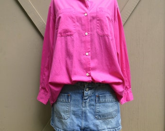 80s/90s vintage Vibrant Hot Pink Cotton Button Down Oversized Blouse/ The Limited