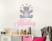 Teddy Bear Wall Decal - Vinyl Personalized Name Decal - children teddy bear decoration - teddy bear nursery - name with bear wall sticker