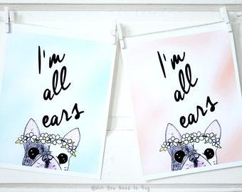 All Ears French Bulldog Print - Frenchie Art Print - Beautiful Pastel Dog Print - Cute Frenchie Print - 5x7 or 8 x10 French Bulldog Art