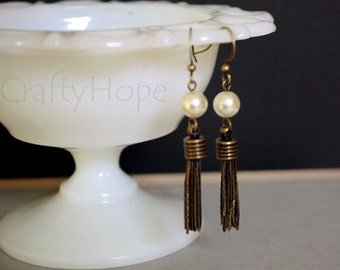Pearl and Brass Tassel Earrings
