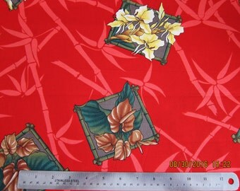 RARE ASIAN FABRIC Exotic Floral on Red Kona Bay Fabric  - 1 Yard - #F19