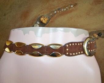 Leather Belt, Brass & Leather Belt, Brown Leather belt, Brass studded belt, size S