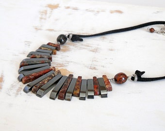 Jasper Fan Necklace on Black Faux Suede, Bohemian Jewellery, Sterling Silver Statement Necklace, Bold Jewellery, Hematite Necklace