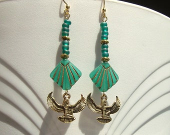 Egyptian Revival Winged Isis Auset Emerald Teal Gold Art Deco Dangle Earrings