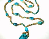 Egyptian Revival Turquoise Scarab Necklace, Multicolor Faiance Clay Heishe Ceramic  Beads, 12 Scarabs, Colorful Long Tourist Necklace 1980s